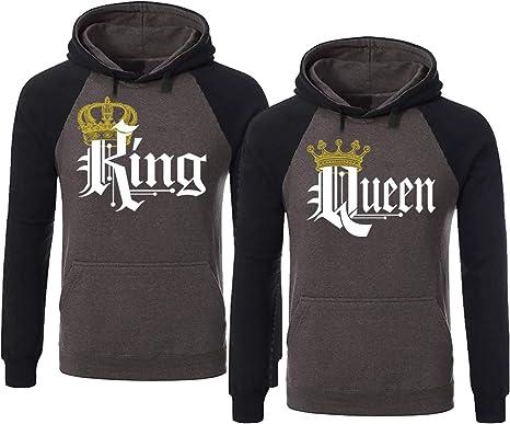SR Couple Matching King Queen Crown Two Tone Raglan Hoodie Pullover Hooded Sweatshirt
