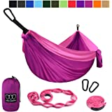 Gold Armour Camping Hammock - Extra Large Double Parachute Hammock (2 Tree Straps 16 Loops,10 ft Included) USA Brand Lightweight Nylon Mens Womens Kids, Camping Accessories Gear (Fuchsia/Pink)