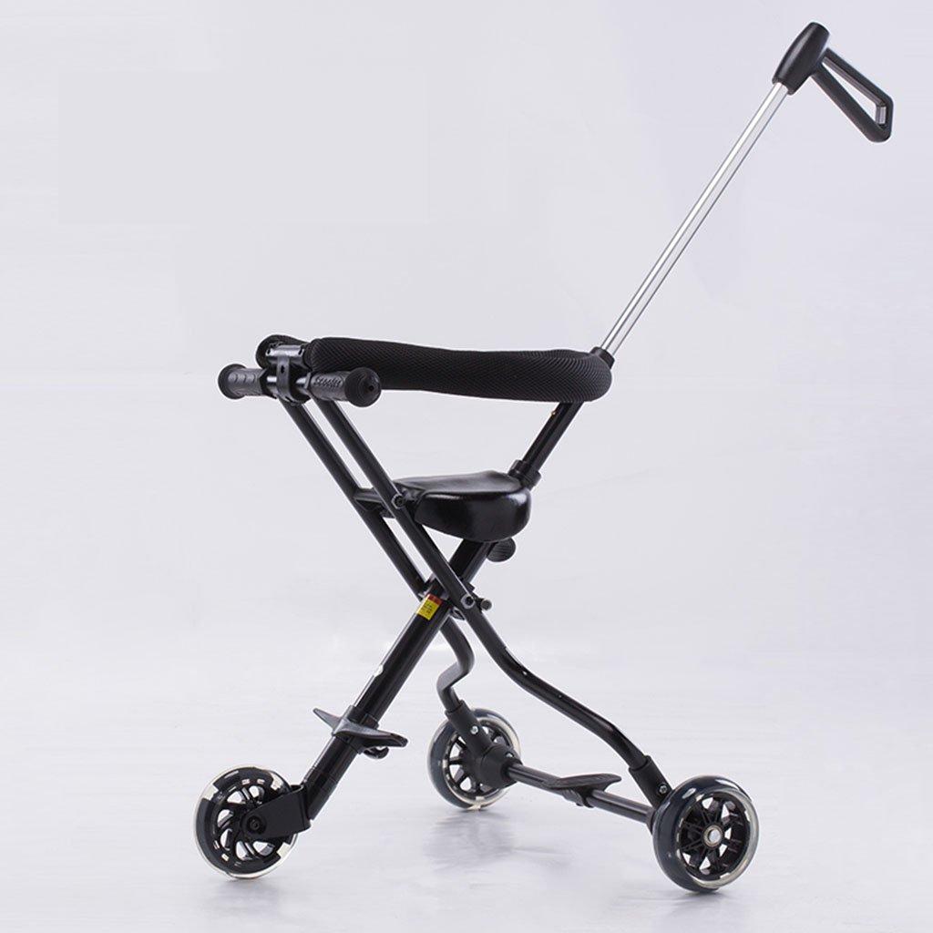 MuMa Cochecito Hay Frenos Trolley De Tres Rondas para Niños Ultralight Se Puede Plegar con Baby out Coche De Juguete para Bebés - Negro