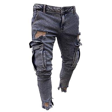 8e8c70c01a Jeans Uomo Strappato, Rcool Pantaloni Jeans da Uomo Skinny Fit ...