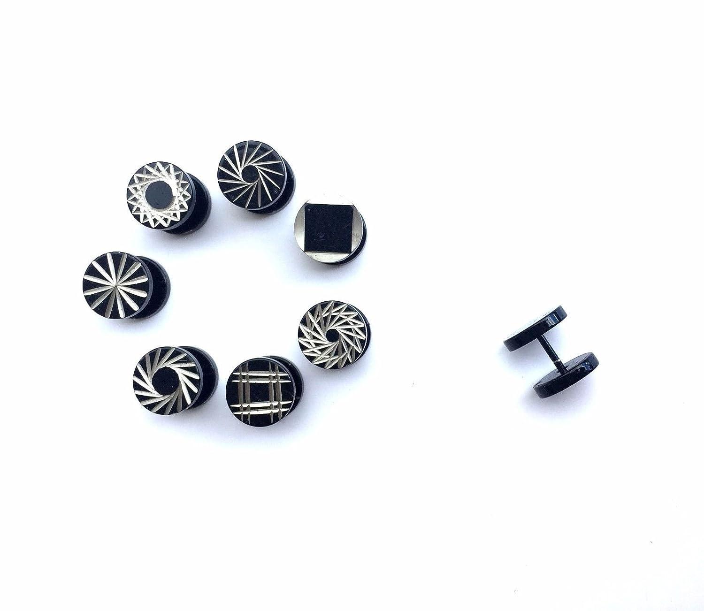 Takestop® Juego de 3 piezas pendientes Dilataciones finti 8 mm acero Piercing unisex túnel chapado en plata Body Hombre Mujer Diseño Aleatorio: Amazon.es: ...