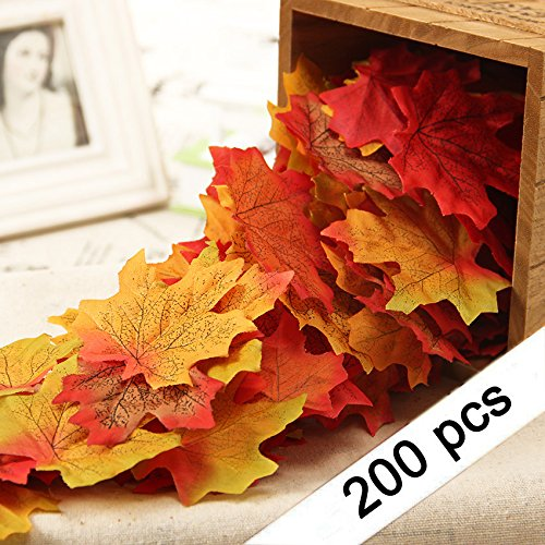 Yarssir 200Pcs Mixed Artificial Leaves Assorted Fall Maple Leaf Multicolor Autumn Fall Leaves for Weddings,Christmas party,Events and Decorating Fall Leaves Craft