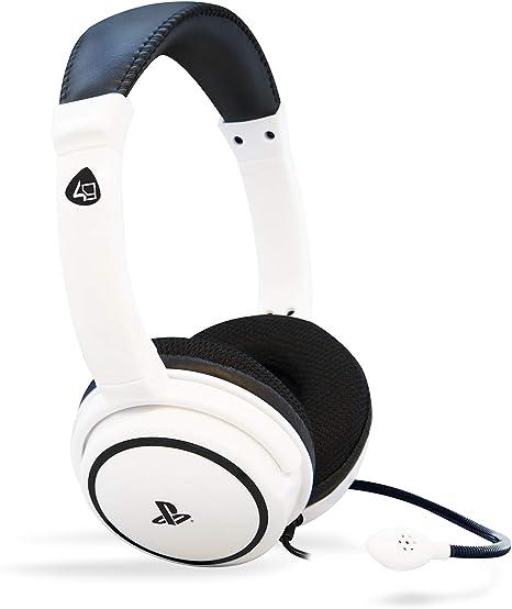 4Gamers - Pro 4-40 Auricular Estéreo Licenciado, 40Mm De Diámetro, Micrófono Flexible, Blanco (PS4): Amazon.es: Videojuegos