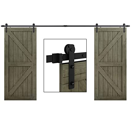 EaseLife 10 FT Double Door Sliding Barn Door Hardware Kit - Heavy Duty |  Ultra Hard Sturdy | Easy Install | Slide Smooth Quiet | Fit Two 24