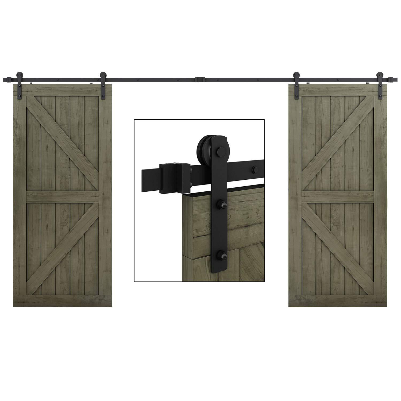 EaseLife 10 FT Double Door Sliding Barn Door Hardware Kit - Heavy Duty | Ultra Hard Sturdy | Easy Install | Slide Smooth Quiet | Fit Double 30'' Wide Door | 10FT Track Double Door Kit