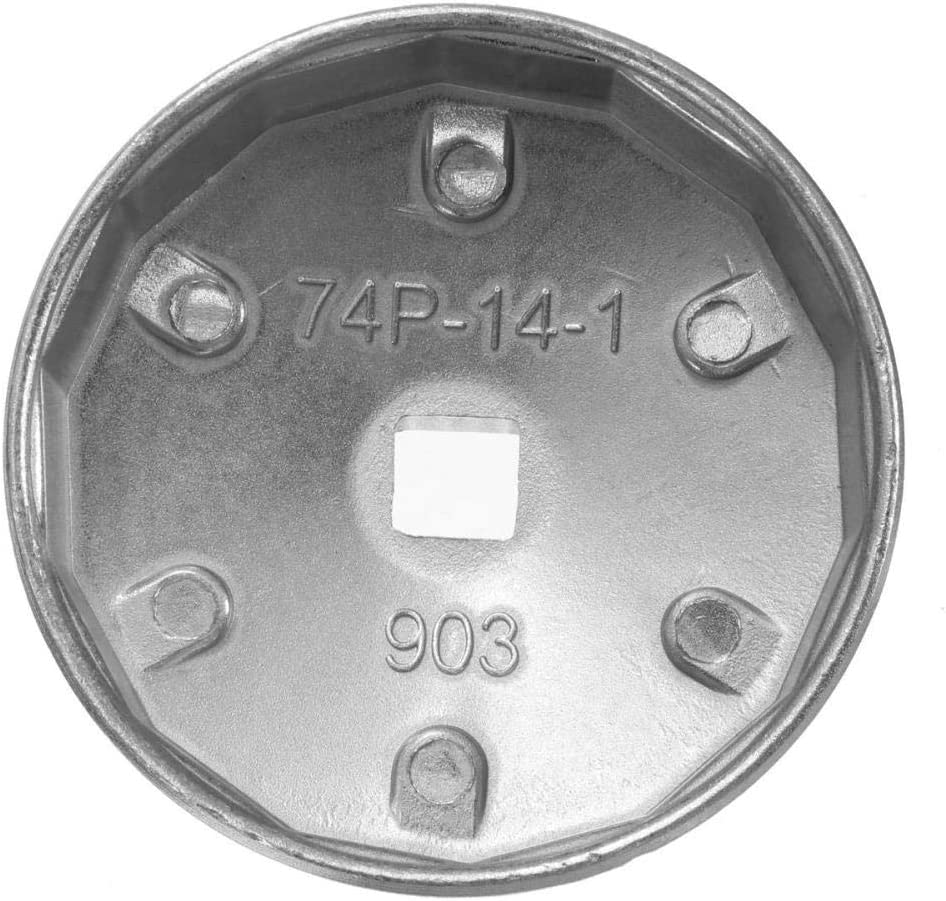 Color Plateado 903 Herramienta de extracci/ón de Socket de Llave de Filtro de Aceite de Aluminio de 14 Flautas de 74 mm Yctze Llave