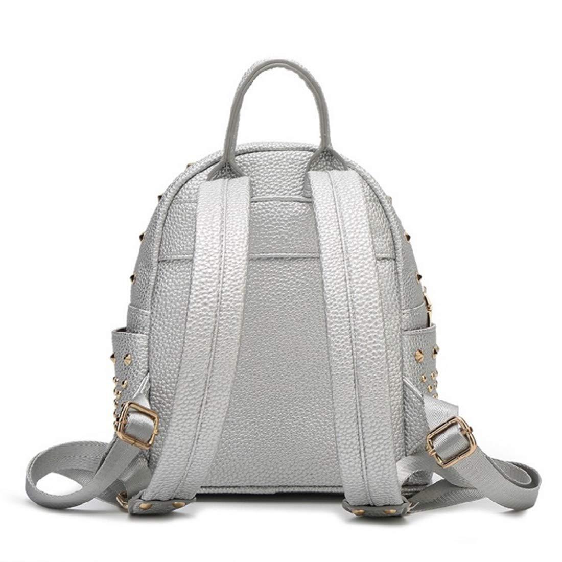HOUYAZHAN Niet Rucksack Rucksack Tasche Damen Leder Leder Leder Mode Student Reiserucksack (Farbe   Silber) B07NDJW5NJ Rucksackhandtaschen Rechtzeitige Aktualisierung 37f530