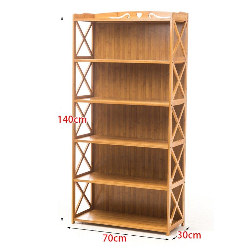 ALUS- Bamboo Bookshelf Simple Shelf Solid Wood Multiple Layers Landing Child Student Bookcase Storage Rack ( Size : 70-140cm )