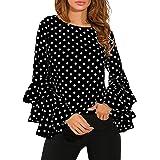 LIKELYY Fashion Women's Bell Sleeve Loose Polka Dot Shirt Ladies Casual Blouse Tops