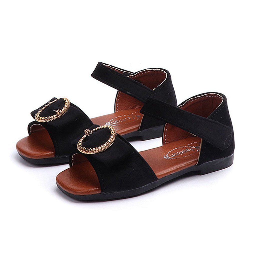 CYBLING Girls Open Toe Strap Sandals Fashion Bowknot Outdoor Princess Flat Shoes (Toddler/Little Kid)