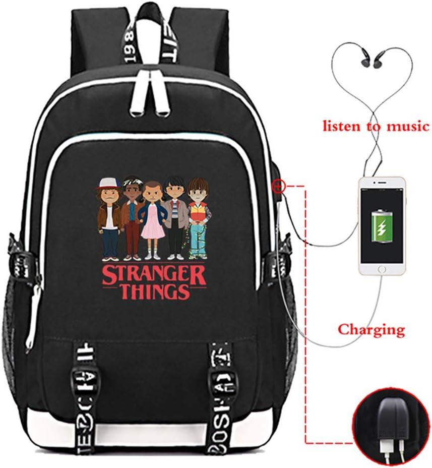 Stranger Things Mochila con Puerto de Carga USB - Stranger Things Fan Pack School Bag Bookbag para niños/niños/jóvenes/Adultos E-Black Talla única: Amazon.es: Equipaje