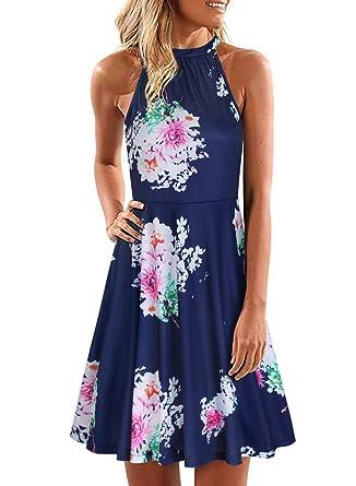 bca3ce34b58 ULTRANICE Women s Halter Neck Floral Summer Casual Sundress(Floral08 ...