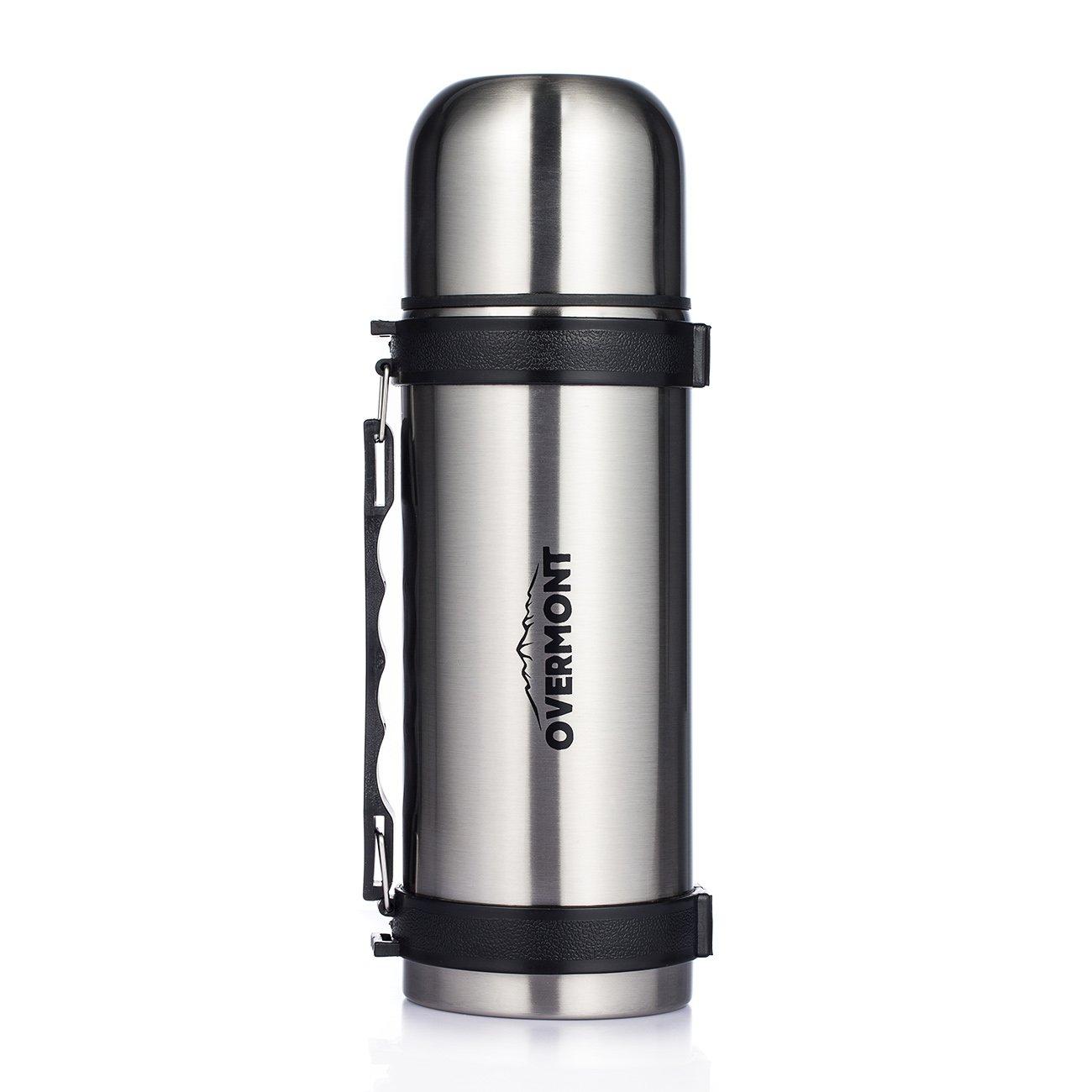 Overmont 1, 1I Edelstahl Doppelwandig Vakuum Thermoskanne Thermosflasche Isolierflasche Silber für Auto Camping Wandern Picknick Reisen Outdoor Aktivitäten