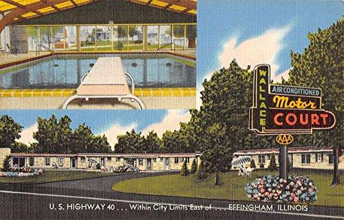 - Effingham Illinois Wallace Motor Court Pool Multiview Antique Postcard K34514