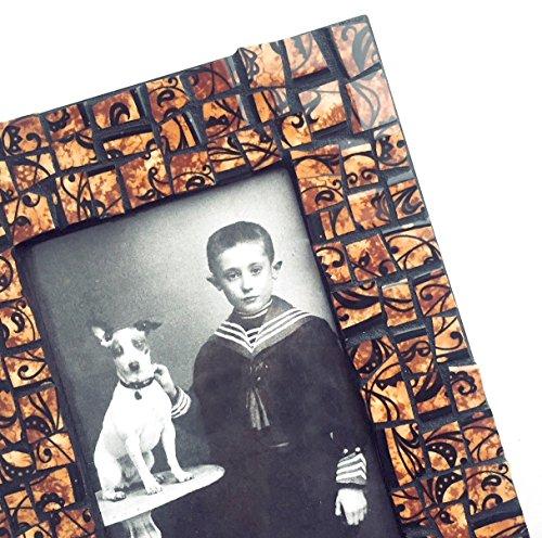 Brown Black Mosaic Photo Frame, Brown Black Filigree Mosaic Frame, 4 x 6 Photo Mosaic Frame, 4 x 6 Brown Black Print Mosaic Picture Frame (Mosaic Filigree)
