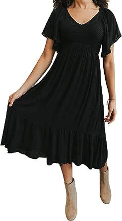 Zattcas Womens Floral Maxi Dress Pockets Short Sleeve Casual Summer Long Dress