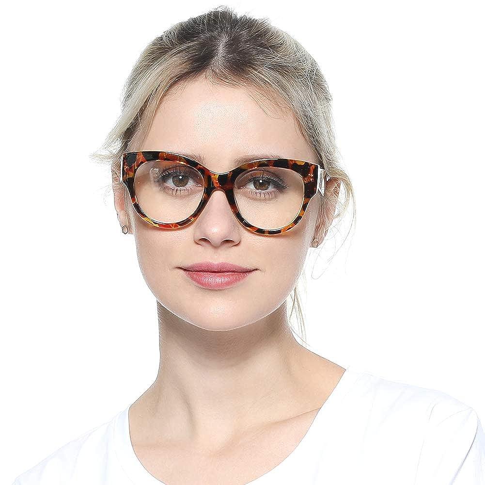 88ec5ef486c1 Amazon.com: SOOLALA Ladies Modern Fashion Prescription Eyeglass Frame Cat  Eye Reading Glass, BkLeo, ClearLens: Clothing