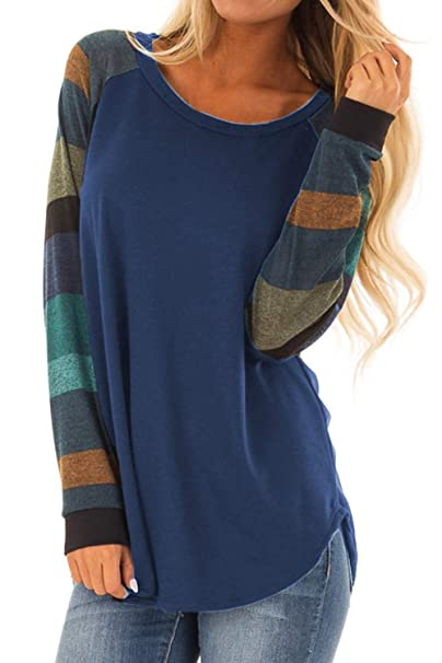 Allimy Women Casual Long Sleeve Striped Shirts Tops Fall Clothing Tunic  Blouses Small Blue 052bb3dcb4