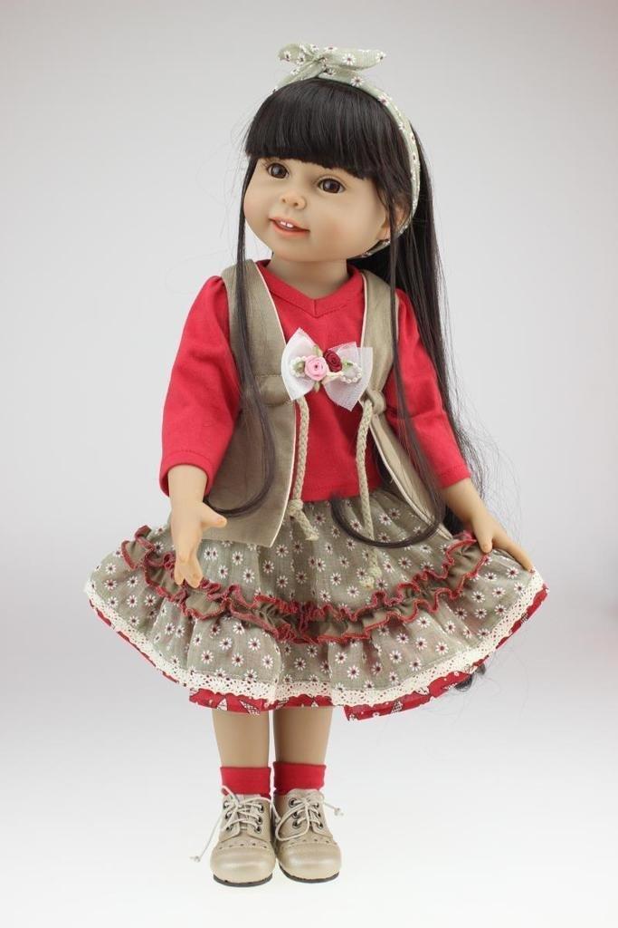 Nicery 18inch Lovely Girl Reborn muñeca de juguete suave de alta Vinilo 45cm realista móvil de la sonrisa de la princesa Vestido Rojo Reborn Baby Reborn Doll
