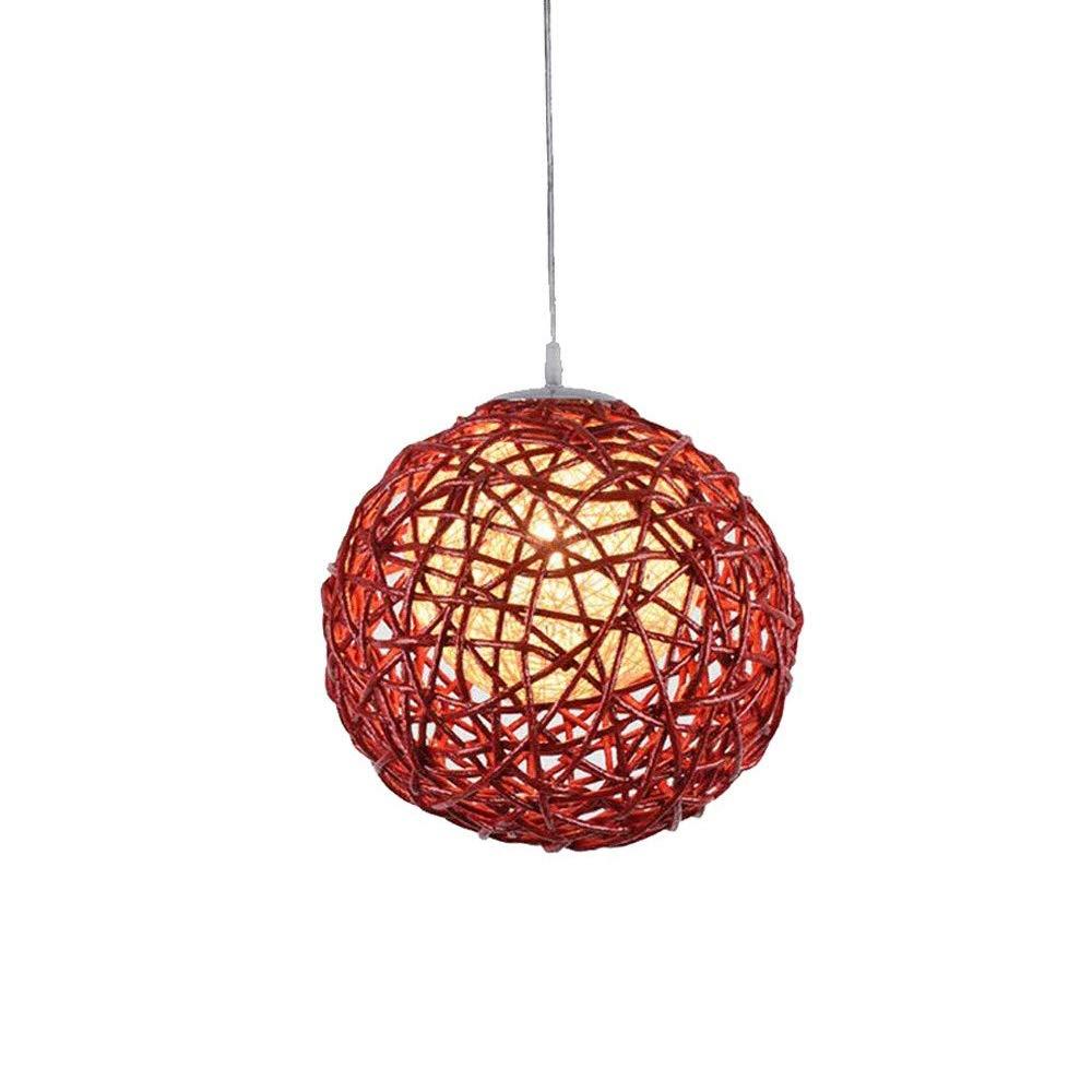 シャンデリア照明器具北欧スタイルシャンデリアe27ダイニングルームラウンジバーコーヒーショップクリエイティブアートボール織り籐ランプ直径30センチ   B07TSXCKXB
