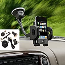 Window Flexible Goosneck Strong Suction Car or Truck Mount with USB Kit fits Samsung Galaxy s7 Edge even with a cover or Otterbox on it.