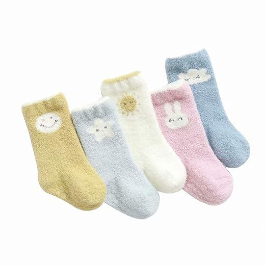 MILASIA 5 Pares de Calcetines de algodón para bebés Calcetines ...