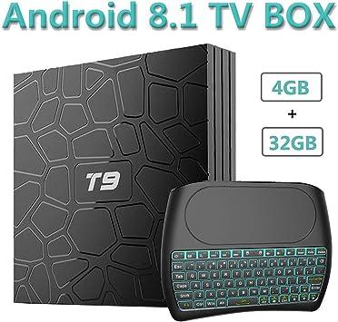 EVANPO Android 8.1 TV Box, 4GB RAM 32GB ROM Quad Core 64 bits Procesador 3D/4K/H.265 Dual WiFi Smart TV Box Media Player con Mini Teclado inalámbrico (retroiluminado): Amazon.es: Electrónica