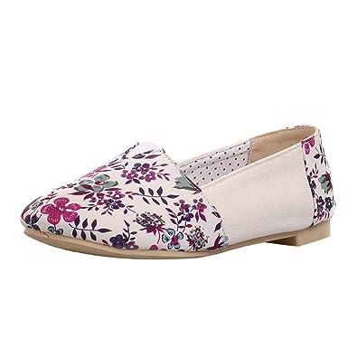 acheter pas cher ee733 f6d07 KIKIVA Femme Escarpin Loafers Imprimé Floral Talon Plat Doux ...
