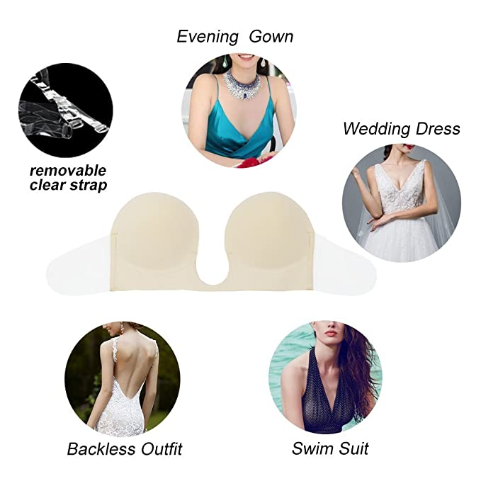 Gempack Push up Adhesive Silicone Bra Deep U-Shaped Reusable Strapless Backless Invisible Bra for Women (Black, D) at Amazon Womens Clothing store: