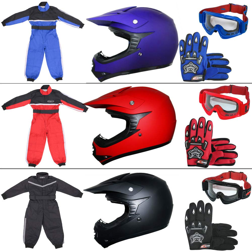 Children Kids Motorbike Race Suit XL 8cm /& Gloves XL Leopard LEO-X15 Black Kids Motocross Helmet XL /& Goggles 11-12Yrs 55cm