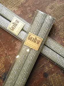 8 Inch Natural Beeswax Glitter Candles, Platinum Color, Boxed Set of 2