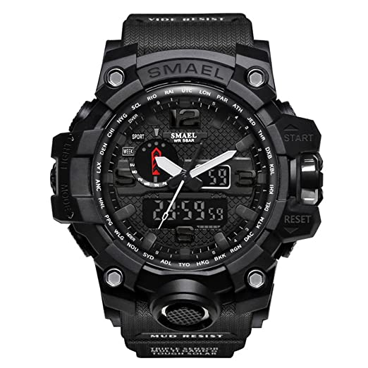 Relojes Deportivos para Hombre de Marca Negro Digital Quartz Reloj de Alarma Banda Elástica: Amazon.es: Relojes