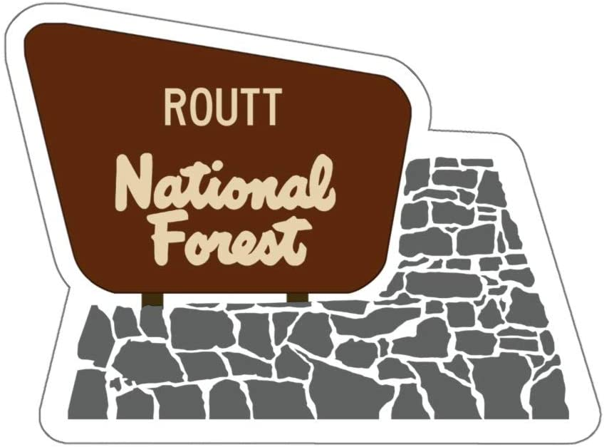 Routt National Forest Entrance Sign Vinyl Sticker - CO WY Camping/Hiking Decal for Car, Laptop, and Water Bottle