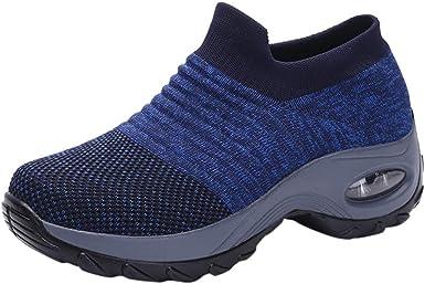 YGbuy Zapatillas Deportivas de Mujer Air Cordones Zapatillas de Running Fitness Sneakers Calzado Resistente al Desgaste Calzado Deportivo Calcetín Zapatillas sin Cordones Zapatos Holgados: Amazon.es: Ropa y accesorios