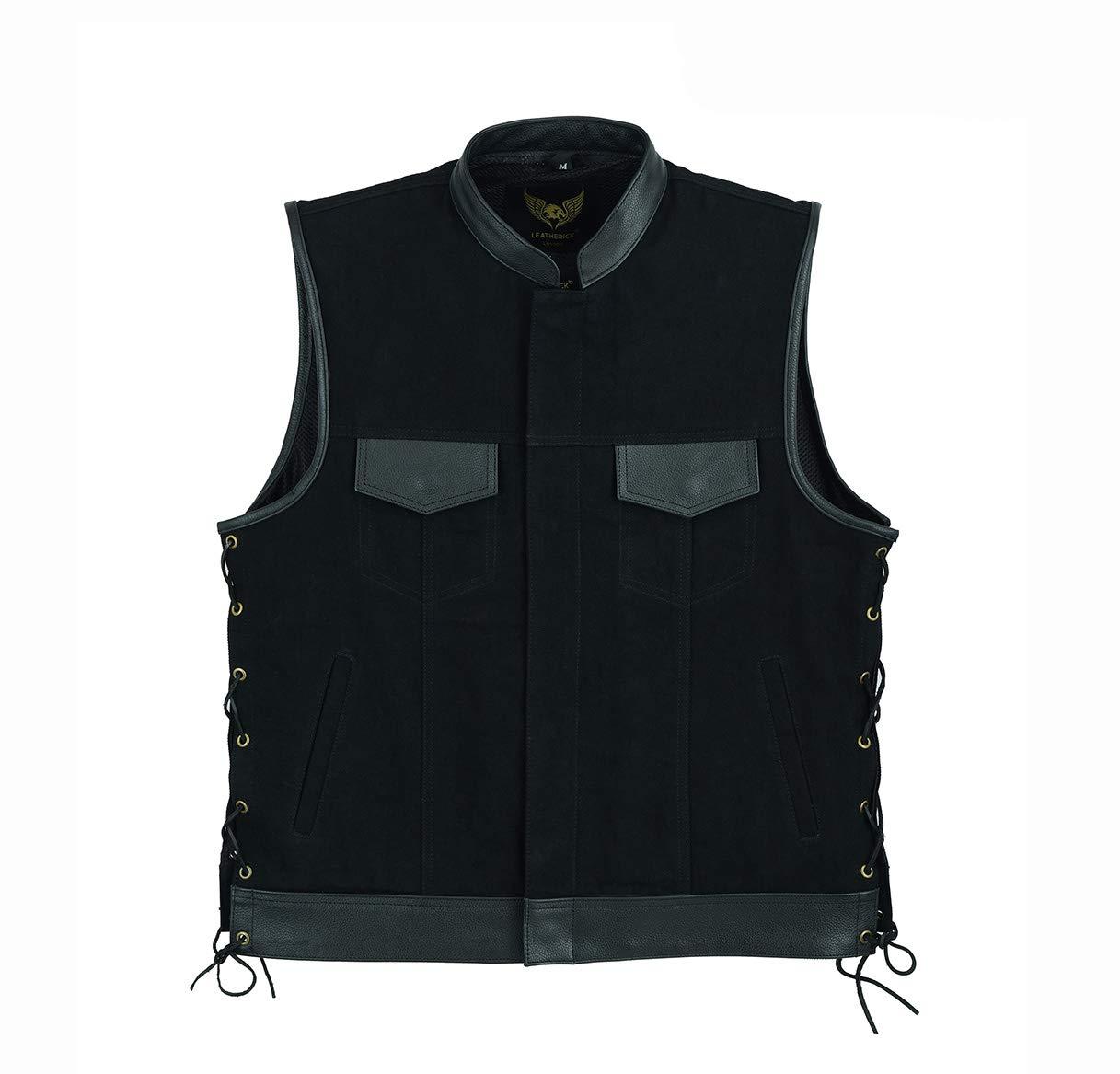 Leatherick Chaleco de piel de color negro con cordones con bolsillos para pistola.