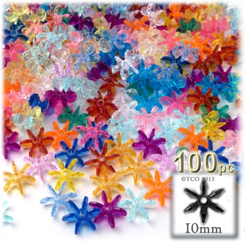 - The Crafts Outlet 1000-Piece Round Faceted Plastic Transparent Starflake Beads, 10mm, Multi Mix