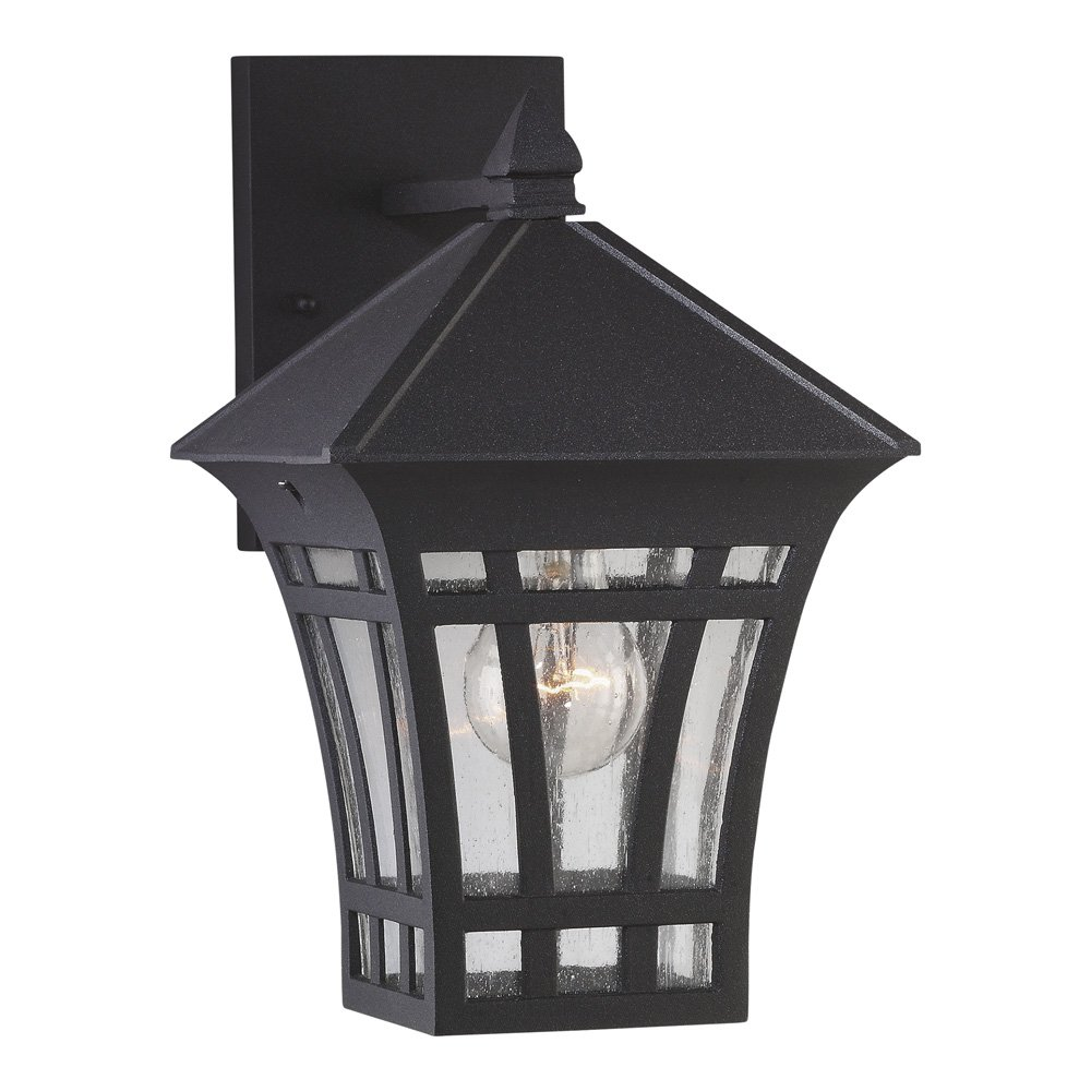 Sea Gull Lighting 88132-12 Herrington One-Light Outdoor Wall Lantern with Clear Seeded Glass Panels, Black Finish