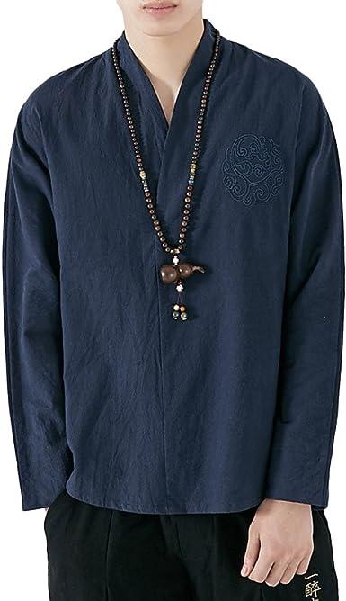 Tops Casuales De Los Hombres Camisetas Antiguas De Bordado Chino Camisetas De Manga Larga De Algodón Saco, Blue-2XL: Amazon.es: Ropa y accesorios