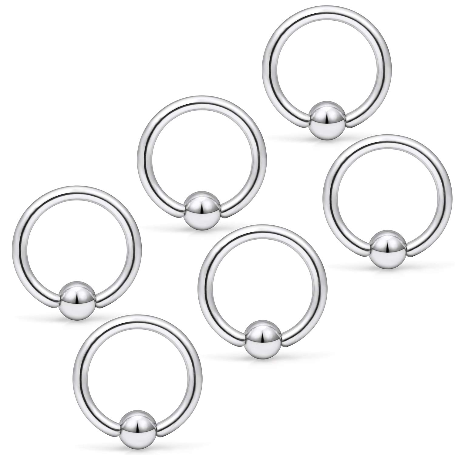 Yaalozei 6PCS 14G Stainless Steel Captive Bead Nose Hoop Rings Eyebrow Cartilage Nipple Tongue Belly Earring Septum Ring Piercing Jewelry for Men Women 8-14mm YLZ1071