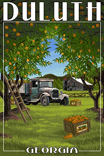 Duluth, Georgia - Peach Orchard with Truck Collectible Giclee Gallery Print, Wall Decor Travel