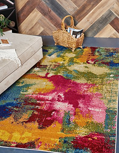 Unique Loom Estrella Collection Colorful Abstract Multi Area Rug (5' x 8')