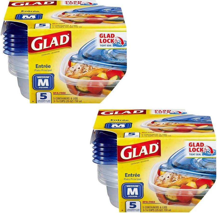 Glad Entrée Disposable Food Storage Containers, Medium Square (25 Oz) - 5 Count, Standard, 10