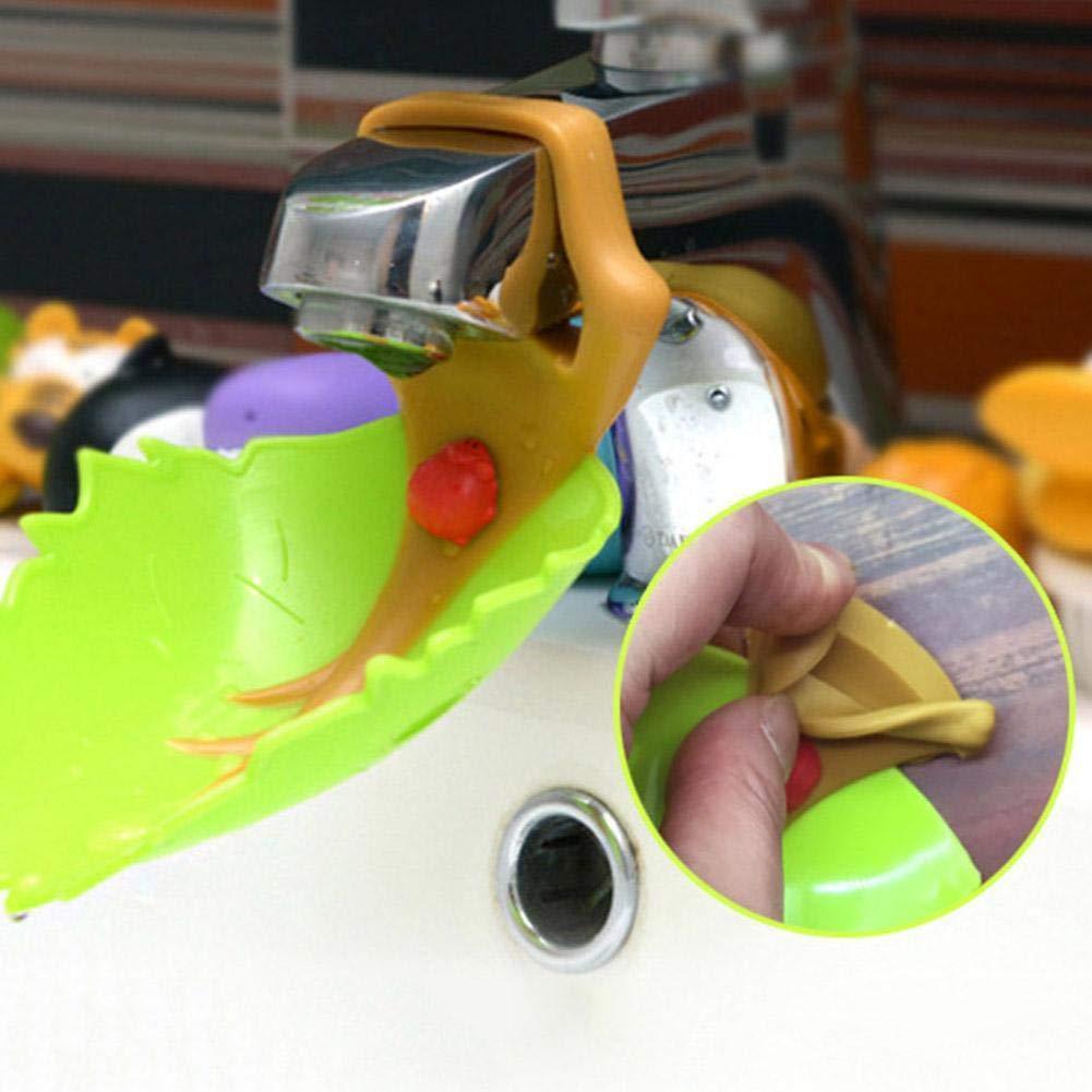 Anglerfish S/ü/ß Kunststoff Wasserhahn Verl/ängerung Extender for Kinder Baby Hand Waschen K/üchen Badezimmer Wasserhahn Erweiterung Gelbbaumblatt