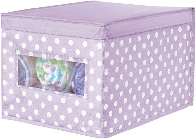 mDesign Caja organizadora de Tela – Caja de almacenaje apilable para Guardar Ropa y Zapatos o para ordenar armarios – Organizador de armarios con Tapa y ventanilla – Violeta y Blanco: Amazon.es: Hogar