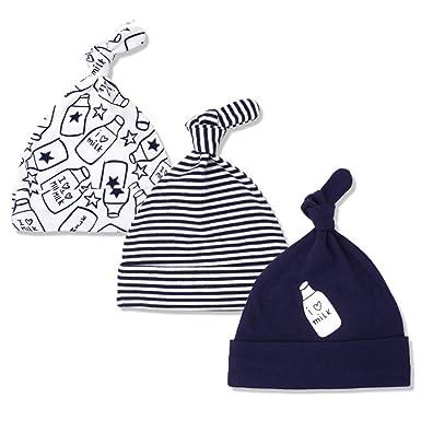 fanbufan Lot De 3 Bébé Bonnets Nouveau Né Coton Crochet Chapeau élastique  Unisexe Bébé Garçon Fille 28c02541aa0