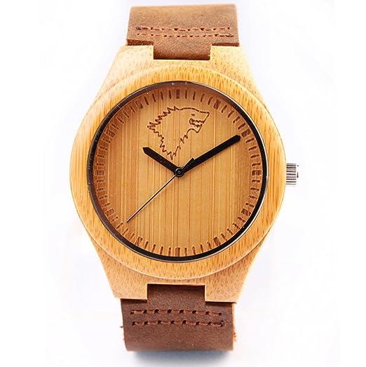 Hombres Lobo Redear Relojes de madera tallada de madera de bambú del dial de cuero suave de la correa japoneses movimiento de cuarzo reloj ocasional: ...