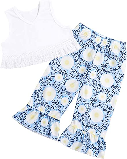 Toddler Baby Girl Polka Tops T-shirt Denim Pants Bell Bottom Outfit Clothes