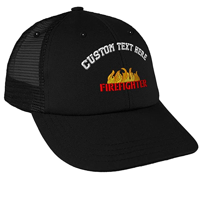 e4f70bc4 Amazon.com: Custom Text Embroidered Firefighter Flame Unisex Adult Snaps  Cotton Low Crown Mesh Golf Snapback Hat Cap - Black, One Size: Clothing