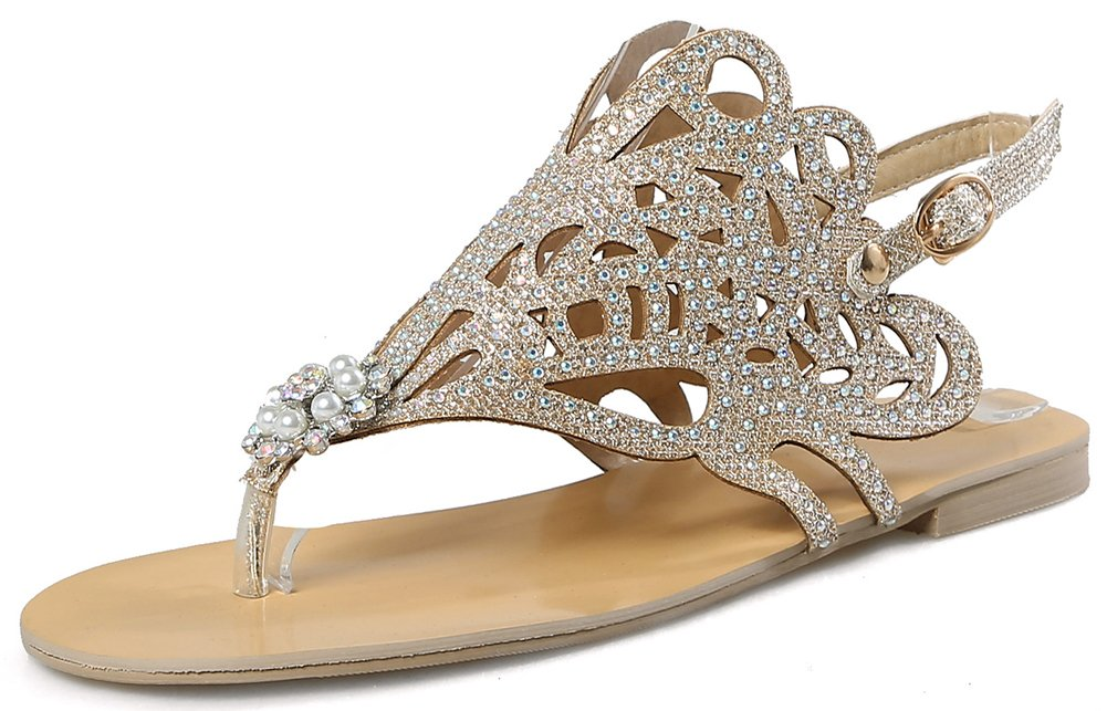 IDIFU Women's Retro Open Toe Ankle Strap Casual Flat Thong Sandals for Beach (Gold, 8 B(M) US)