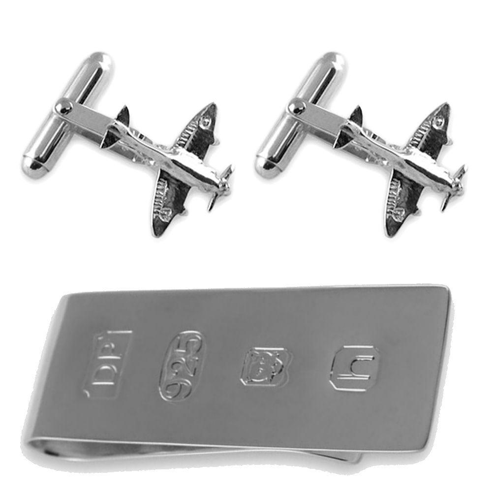 Sterling silver Spitfire cufflinks James Bond Money Clip Box Set